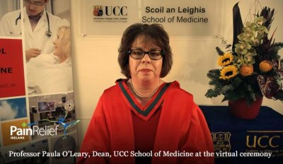 Professor Paula O'Leary, Dean, UCC School of Medicine at the virtual ceremony